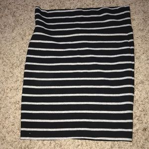 Black grey striped skirt